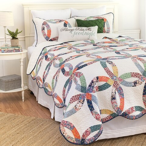 Heritage Wedding Ring Hand Pieced Cotton Quilt Set