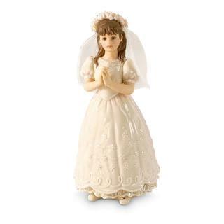 White/Gold Porcelain Brunette Girl Figurine