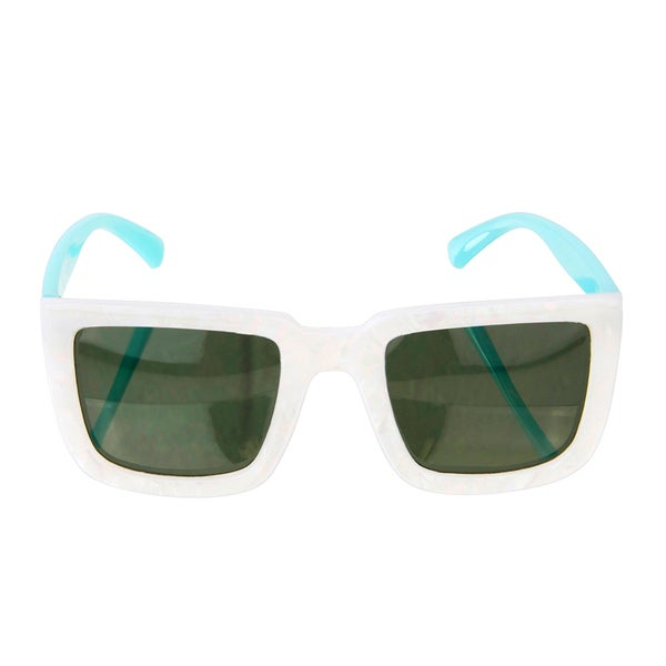 Crummy Bunny Polarized Kids White and Blue Square frames Sunglasses