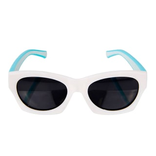 Crummy Bunny Flexible Kids Retro White and Turquoise sunglasses