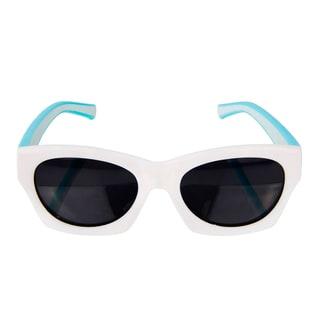 Crummy Bunny Flexible Kids Retro White and Turquoise sunglasses
