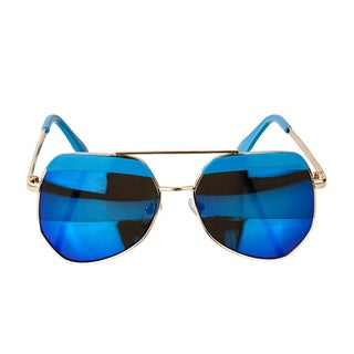 Crummy Bunny Kids UV400 Aviator Style Sunglasses with Gold Frame and Blue lens