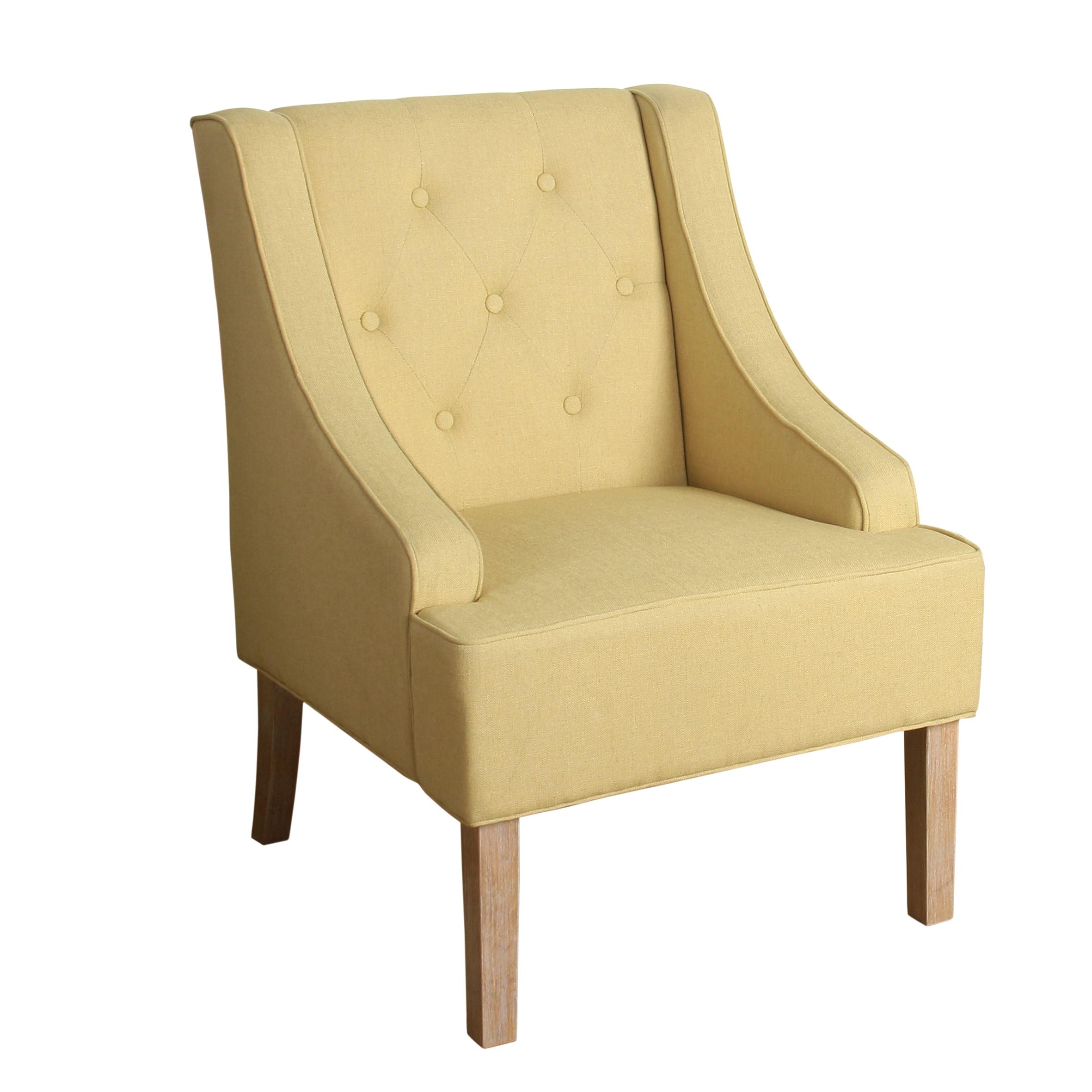 Porch U0026 Den Los Feliz Lyric Tufted Swoop Arm Accent Chair In Soft Yellow