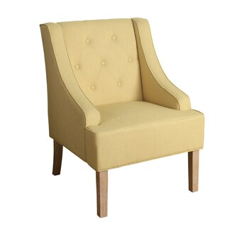 HomePop Kate Tufted Swoop Arm Accent Chair in Soft Yellow