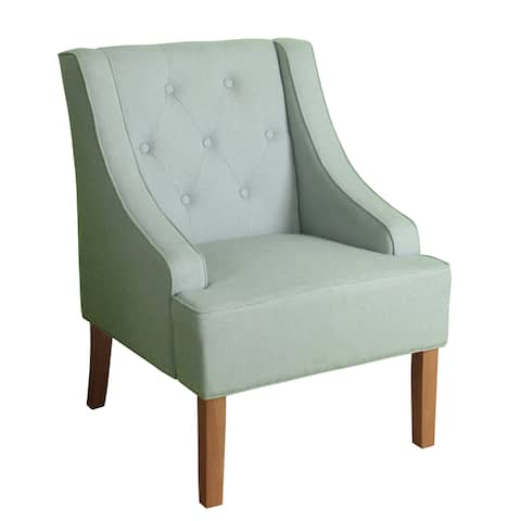 Copper Grove Gwillim Spa Blue Tufted Swoop Arm Accent Chair