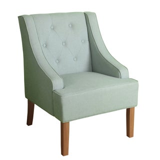 HomePop Kate Tufted Swoop Arm Accent Chair Spa Blue