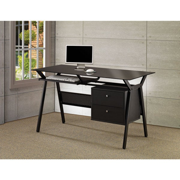 Coaster Company Black Metal And Gl 2 Drawer Computer Desk On Free Shipping Today 12199489