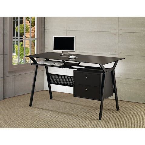 Coaster Company Black Metal and Glass 2-Drawer Computer Desk