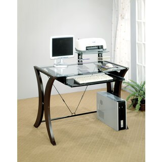Coaster Company Cappuccino Glass Top Computer Desk