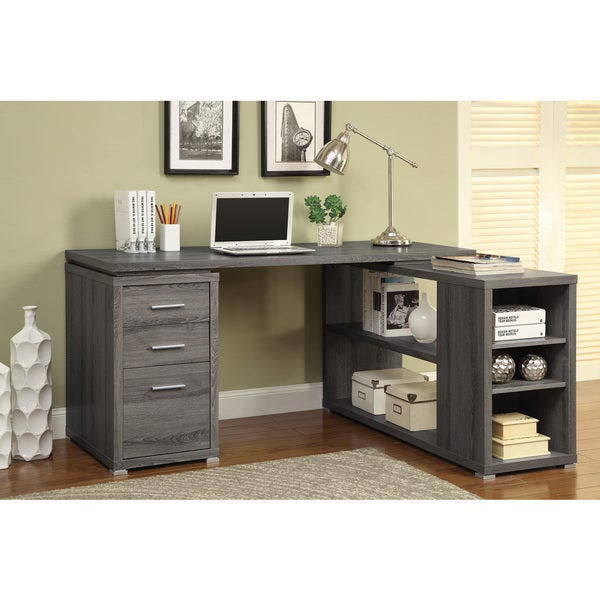 reversible l-shape office desk and bookcase set - free shipping
