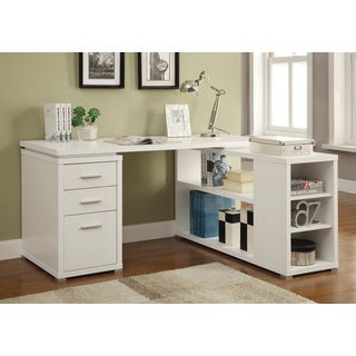 Reversible L-shape Office Desk and Bookcase Set