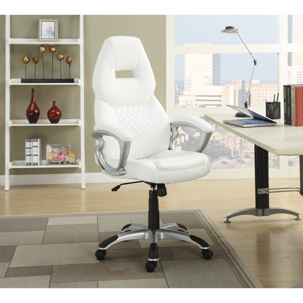 "Coaster Company White Leatherette Office Chair - 26"" x 28.25"" x 46.75"""