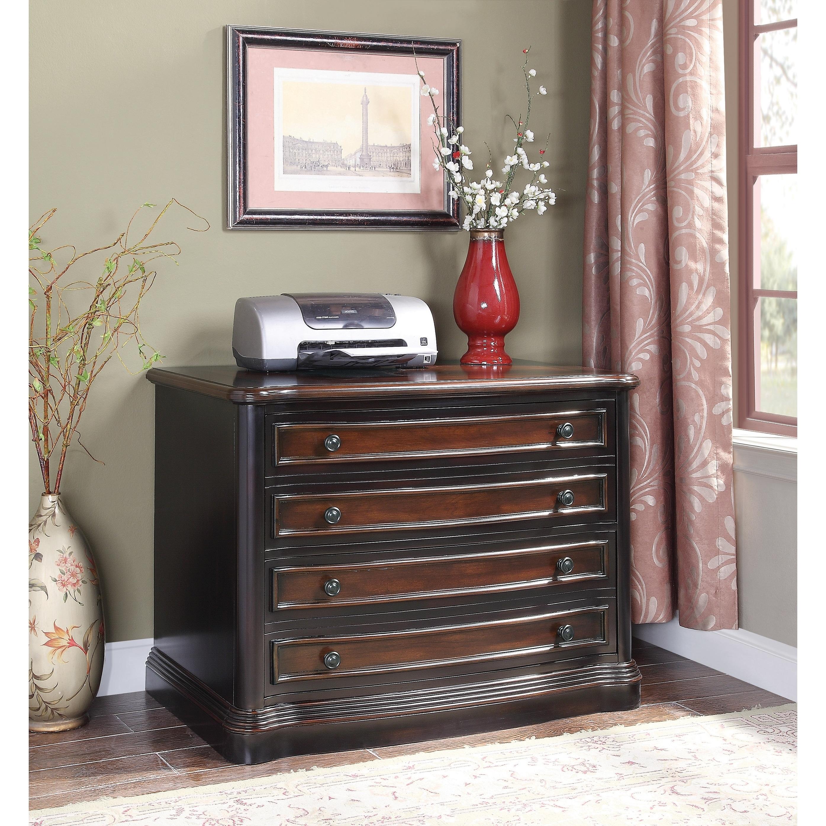Coaster Furniture Black and Cherry Wide File Cabinet (Bla...