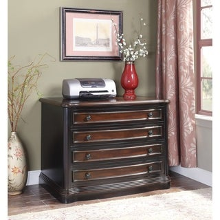 Black and Cherry Wide File Cabinet