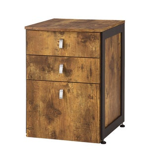 Antique Nutmeg Wood/ Metal File Cabinet