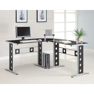 Coaster Fine Furniture L-Shaped Computer Desk (Black/Silver)