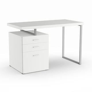 Silver Orchid Linder White Filing Cabinet Writing Desk