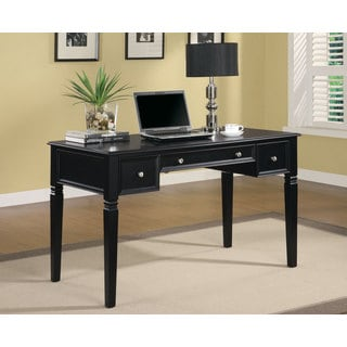 Black Hidden Outlet 2-Drawer Writing Desk
