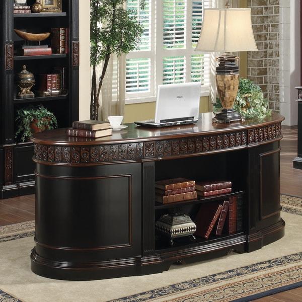Warm Cherry Executive Desk Home Office Collection: Shop Coaster Company Black/ Cherry Wood Executive Oval
