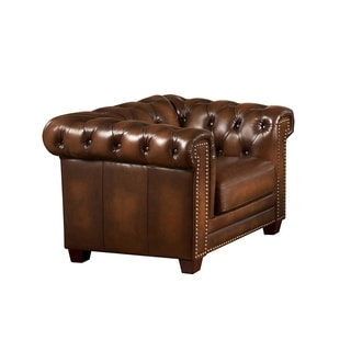 Hickory Genuine Hand Rubbed Leather Chesterfield Armchair
