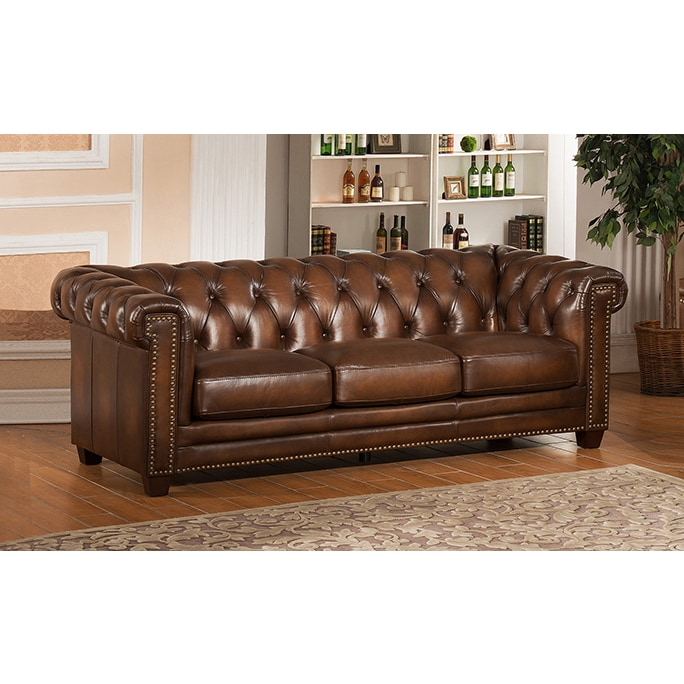 Awe Inspiring Hickory Brown Genuine Hand Rubbed Leather Chesterfield Sofa Pabps2019 Chair Design Images Pabps2019Com