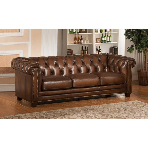 Shop Hickory Brown Genuine Hand-Rubbed Leather Chesterfield Sofa ...
