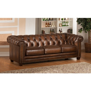 Hickory Brown Genuine Hand Rubbed Leather Chesterfield Sofa