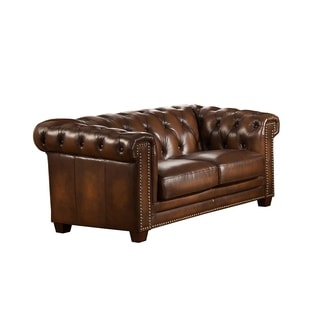Hickory Brown Genuine Hand-Rubbed Leather Chesterfield Loveseat