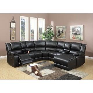 Segudet Bonded Leather Motion Sectional Sofa