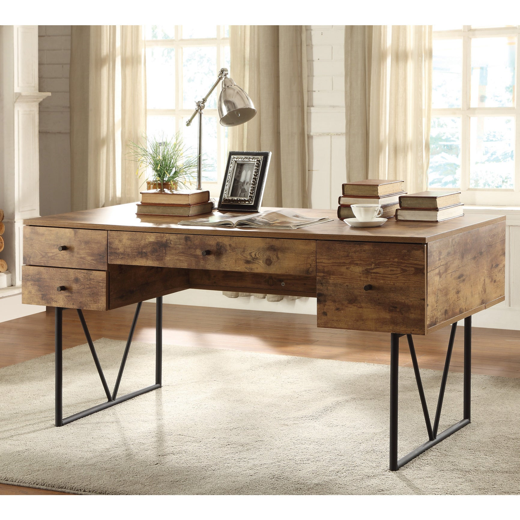 sneakers for cheap 89854 0b16e Analiese Industrial Antique Nutmeg Writing Desk