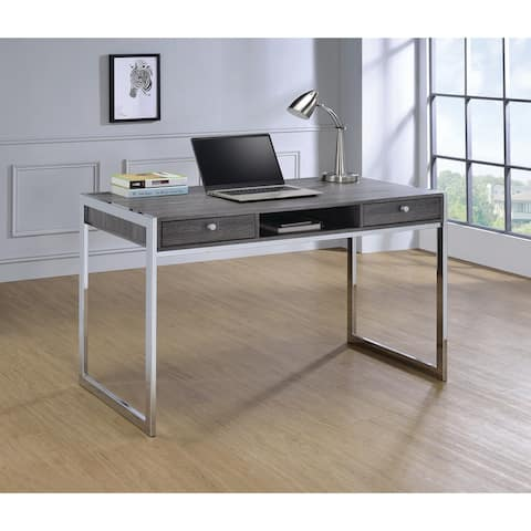 Coaster Company Weathered Grey Wood and Chrome Writing Desk