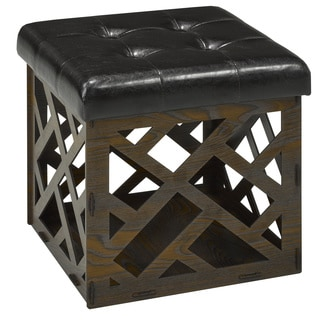 Faux Leather Seat Storage Ottoman
