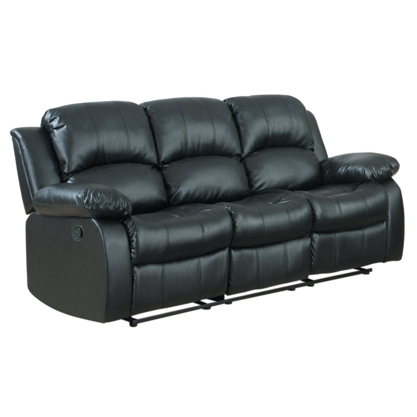 Classic Oversize and Overstuffed 3 Seat Bonded Leather Double Recliner Sofa