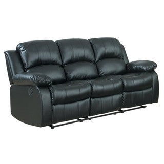 Shop 3 Seat Double Recliner Bonded Leather Sofa Free Shipping