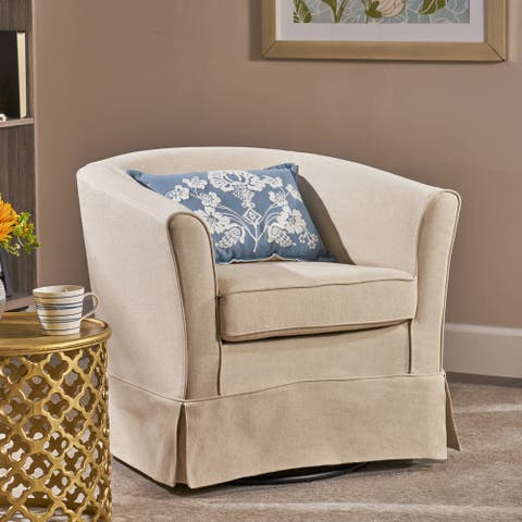 Cecilia Beige Fabric Swivel Club Chair by Christopher Knight Home
