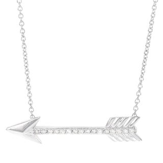 H Star 14k White Gold 1/6-carat I-J I2-I3 Diamond Arrow Pendant
