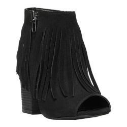 Women's Carlos by Carlos Santana Jasper 2 Peep-Toe Ankle Boot Black Microfiber