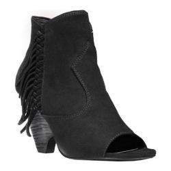 Women's Carlos by Carlos Santana Peyton Peep-Toe Ankle Boot Black Microfiber