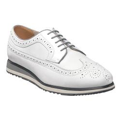 Men's Florsheim Flux Wing Tip Oxford White Smooth Leather