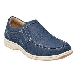 Men's Florsheim Lakeside Moc Toe Slip On Navy Canvas/Navy Suede