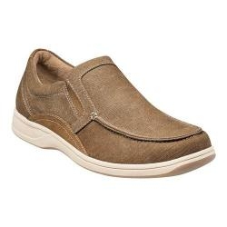 Men's Florsheim Lakeside Moc Toe Slip On Sand Canvas/Brown Crazy Horse Leather