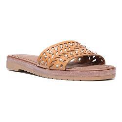 Women's Franco Sarto Maclean4 Slide Sandal Golden Amber Atanado Veg Leather