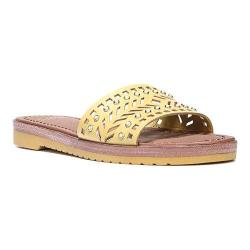 Women's Franco Sarto Maclean4 Slide Sandal Saffron Atanado Veg Leather