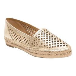 Women's Frye Lee A Line Perf Flat Gold Metallic Leather