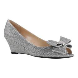 Women's J. Renee Blare Wedge Silver Harlequin Glitter Fabric