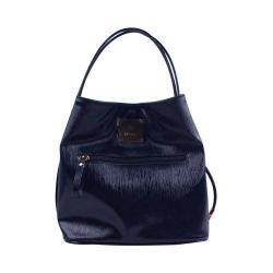 Women's J. Renee BU001 Handbag Navy Faux Crinkle Patent Leather