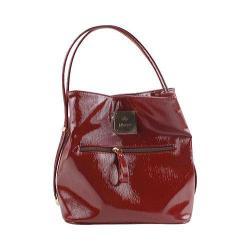 Women's J. Renee BU001 Handbag Red Faux Crinkle Patent Leather