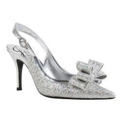 Women's J. Renee Charise Slingback Silver Glitter Fabric