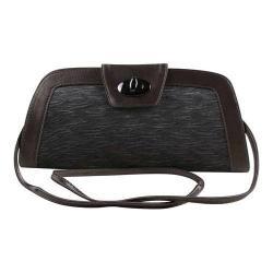 Women's J. Renee CL074 Pleated Handbag Dark Grey Satin