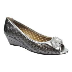 Women's J. Renee Dovehouse Peep Toe Wedge Pewter/Silver Metallic Nappa Leather